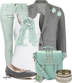 """""""Mint/Grey Contest 2"""" by amybwebb ❤ liked on Polyvore"""