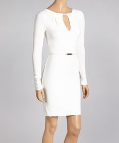 Look what I found on #zulily! White Keyhole Belted Dress by Sentimental NY #zulilyfinds
