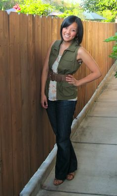 Need army vest post Military Vest Outfit, Army Vest, Vest Outfits, Cool Outfits, Olive Vest, Sleeveless Blazer, Spring Work Outfits, Fashion Killa, Work Fashion