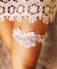 Wedding Garter Bridal Garter Lace Garter  White Garter Flower