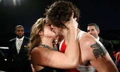 No, it's not a WWE fight - it's Justin Trudeau receiving a victory kiss from wife Sophie after defeating Conservative Senator Patrick Brazeau in a charity boxing match back in <br> Photo: Chris Wattie/Reuters Justin Trudeau Tattoo, Justin James, Ali Macgraw, Shirley Maclaine, Steve Mcqueen, Looking For Love, Celebs, Celebrities, Sons