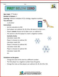 First Below Zero - this 2nd grade subtraction game will help your child learn to subtract by multiples of 10.