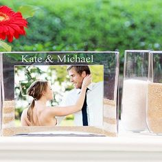 Turn your wedding unity ceremony into an attractive table centerpiece in your home with this personalized sand ceremony photo vase complete with 2 sand pouring glasses. #WeddingUnity #UnitySandCeremony