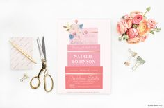 "Fancy Cake Bridal Shower Floral Invitations - WaterColor Cake Printable JPEG Wedding Shower Invitation - 5""x7"" Bridal Shower Invites"