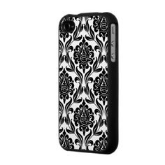 """""""Vintage effect Black and White Damask Pattern Iphone4 Case."""""""