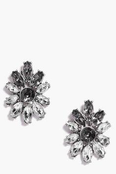 Violet Boutique Diamante Floral Earrings