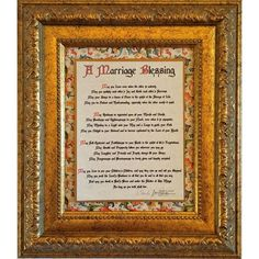 Designed to be an heirloom. Antique style Baroque frame and ornate Florentine border. The text uses an Old World font developed by a world-renown German font maker printed on parchment paper. The blessings are surrounded by an antique gold finish border and mounted on richly-colored gold-flecked Italian bookbinding paper made in Florence, the home to gorgeous bookbinding papers for centuries.