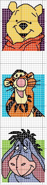 Cross-stitch Pooh, Tigger, Eeyore bookmark ... use the colors on the chart as your color guide.