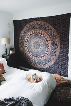 Bohemian Bedroom Inspiration✨Untamed Tapestry from Lady Scorpio☽ ✩ Save 25% off all orders with code PINTERESTXO at checkout | Bohemian Tapestry Boho Pillow Case Hex Perspective Wall Decor by Lady Scorpio | Shop Now LadyScorpio101.com | Interior Design by Kaitlyn Johnson @kaitlynjohnsondesign | @LadyScorpio101