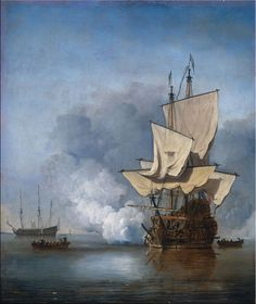 """""""Het kanonschot"""" VOC schepen reproductie Willem van de Velde. 'The Cannon Shot' by Willem van de Velde 'The Younger'. Van de Velde (1633-1707) was a Dutch marine painter. A son of Willem van de Velde the Elder, who also a painter of sea-pieces, Willem van de Velde, the Younger, was instructed by his father, and afterwards by Simon de Vlieger, a marine painter of repute at the time, and had achieved great celebrity by his art before he came to London."""