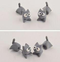 New to SpektroDesign on Etsy: Cat Eyes Clay Earrings Gray 3D (8.90 USD)
