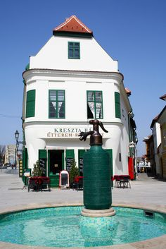 This is the Kreszta Building in Gyor, Hungary, home of the permanent exhibition of the works of Hungarian Ceramics Artists Margit Kovacs.