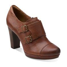 c54980720 Flyrt Fancy Cognac Leather - Womens Shoes - Womens Heels - Clarks Parisian  Wardrobe