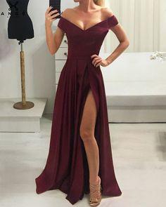 long prom dresses - Off Shoulder Chiffon Dress Bridal Gown Prom Evening Dress Grad Dresses, Dance Dresses, Bridal Dresses, Bridesmaid Dresses, Formal Dresses, Neutral Prom Dresses, Cute Dresses, Gown With Slit, Simple Prom Dress