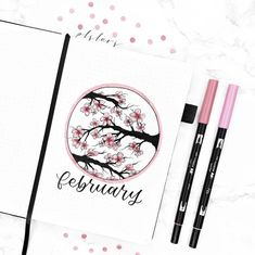 Bullet Journal Agenda, February Bullet Journal, Bullet Journal Cover Ideas, Bullet Journal Notebook, Bullet Journal Aesthetic, Bullet Journal Layout, Journal Covers, Bullet Journal Japan, Cherry Blossom Drawing