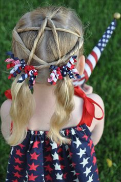 Patriotic 4th of July Holiday Girls Hair ☆ Divide the hair into 2 sections top and bottom ☆ Then divide the top section into 3 equal parts using clear hair bands ☆ Split the bottom section into 2 equal parts and secure ☆ Divide the top middle and 1 side into 2 parts and with a little palm aid (to hold fly aways) twist and secure with clear bands in a star formation as shown. One side will twist w/o splitting ☆ Add ribbons or bows to complete the look. Memorial Day ☆ Veterans Day ☆ Military