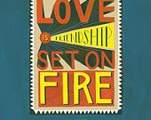 """Jeremy Taylor """"Love is Friendship Set On Fire"""" Inspirational Quote Print: 11""""x14"""" Hand-Lettered Typography Poster"""