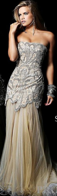 Sherri Hill ~ Strapless Silver Metallic + Crystal Embellished Gown w Pleated Flowing Neutral Skirt 2013