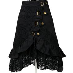 Women's Lace Hem Patchwork Skirt Black