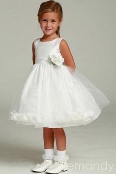 pretty scoop sleeveless satin and organza flower girl dress. $102.00, via Etsy.