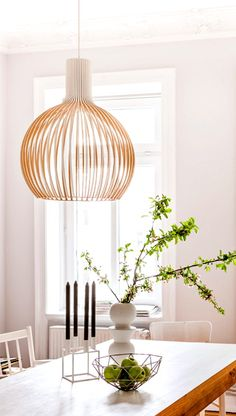 A fresh and bright home with Octo 4240 by Secto Design in white finish. Dining Room Design, Interior Design Living Room, Dining Rooms, Room Interior, Dining Chairs, Room Inspiration, Interior Inspiration, Bright Homes, Dining Room Lighting