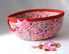 Valentine's Day Decoration Handmade Heart Basket Card  #wexfordtreasures #basket #bowl #gift #decorative #handmade #home #decor  #etsyshop #artisan #coiled #quilted #textile #art #fiber #fabric #rope #Valentine's #day #decoration #gift #heart #candy #dish