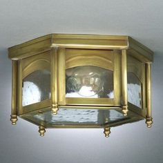 "Northeast Lantern Williams 5.5"" 1 Light Flush Mount Finish: Dark Brass, Shade Color: Seedy Marine"
