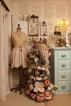 magicalhome:  Ribbon tree in a shabby sewing room.