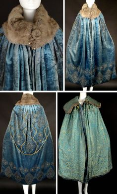 ~Evening cape ca. 1912~  Slate blue velvet with gold beading and amber  blue rhinestones. Large gray squirrel  fur collar has 2 fur buttons. Large hook closure at base of neckline. Lined in aqua, turquoise,  gold silk brocade. Vintage Martini
