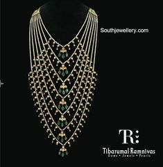 Satlada haar adorned with pearls polkis and emeralds by Tibarumal Ramnivas Jewellers. Fine Diamond Jewellery - June 15 2019 at Jewelry Design Earrings, Necklace Designs, Jewelry Sets, Jewelry Stand, Jewelry Accessories, Indian Jewellery Design, Indian Jewelry, Gold Jewellery, Handmade Jewellery