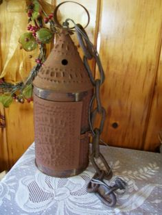 ornate primitive from the late 1800's | Rusty Primitive 19th Century Punched Tin Hanging Revere Lantern w ...