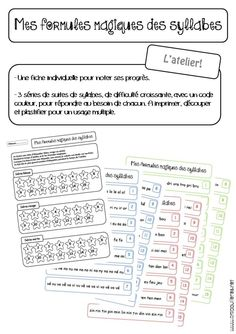 pour améliorer et/ou renforcer la lecture de syllabes, en atelier.