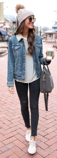 fall outfit ideas / stripes + denim jacket + beanie
