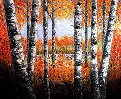 Peinture à l'huile arbres paysage, Forêt de bouleaux, Couteau peinture à l'huile toile, Art peinture pour la décoration intérieure, Haute qualité, 100% peint à la main(China (Mainland))