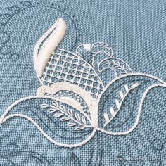 Jacobean whitework embroidery on blue linen Cushion Embroidery, Crewel Embroidery Kits, Hand Embroidery Patterns, White Embroidery, Embroidery Thread, Cross Stitch Embroidery, Embroidery Designs, Embroidery Hearts, Simple Embroidery