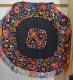 Striking Vintage Hungarian Matyo Round Hand Embroidered Tablecloth SS124   eBay