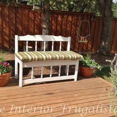 Twin Bed to Garden Bench Transformation