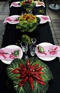 Catharina dukar: I Savoykålen har jag skurit ett hål i mitten och placerat en blöt oasis, jämt fördelat i oasisen har jag stuckit ner dillkronor & röda rosor, blir som en häftig bukett. Lobster Bake, Tablescapes, Seaside, Table Settings, Brunch, Party Ideas, Table Decorations, Celebrities, Inspiration