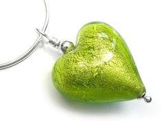 Murano Glass Heart Pendant - Lime