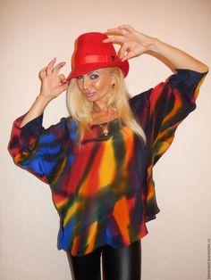 Блузки ручной работы. Ярмарка Мастеров - ручная работа. Купить блуза -Самоцветы. Handmade. Разноцветный, натуральный шелк, Праздник, яркая