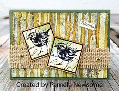 ATC by Pamela Newsome using Darkroom Door Garden Inchies Rubber Stamps and Woodgrain Background Stamp.