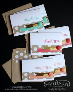 """3-1/2"""" x 5"""" Whisper White Note Cards, Crumb Cake Note Card Envelopes, Season of Style dsp Stack (1-1/4"""" x 5""""), note card-size Envelope Liners Framelits Die, gold foil sheet (1/2"""" x 3""""), 2013-15 in color ink and cs (1/2"""" x 4""""), in color boutique details buttons, watercolor wonder washi tape"""