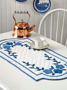 Blue and white table runner. Very pretty!