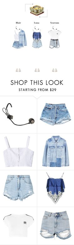 """""""— Heartbeat 'CRUSH' Debut Stage ♡ Inkigayo"""" by heartbeat-official ❤ liked on Polyvore featuring StyleNanda, MANGO, Nobody Denim, SJYP, adidas, Topshop, Converse and crushera"""