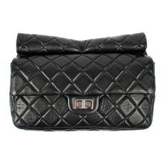 Chanel Rollup Clutch - reissue black lambskin leather bag handbag roll up medium