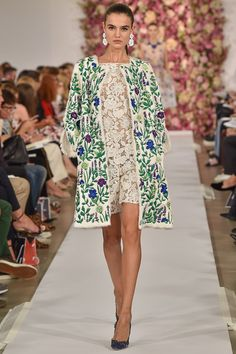 Oscar de la Renta Spring 2015 embroidered coat over lace