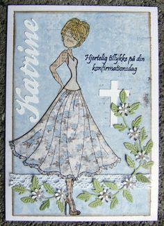 Konfirmationskort og tag - Prima Doll stamps