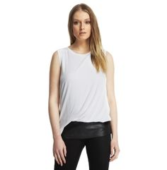 Draped Jersey Top with Faux-Leather Hem - Kenneth Cole