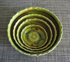 Handmade Lime Green 4 Piece Scalloped Rim Serving Bowl Set Vintage Pottery Made in Mexico