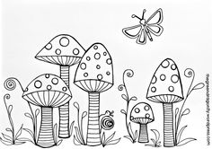 Toadstool Coloring Pages For AdultsColoring Sheets – The Green Dragonfly Coloring Pages To Print, Coloring Book Pages, Doodle Drawings, Doodle Art, Free Printable Coloring Sheets, Fairy Coloring, Mandala Coloring, Flower Doodles, Doodle Flowers